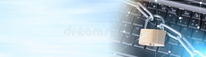 Begrepp av datorsäkerhet, ljus effekt panorama- baner royaltyfri foto