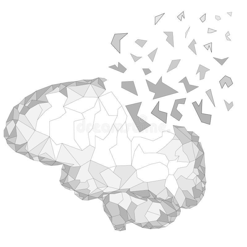 Begrepp av den aktiva mänskliga hjärnan med strömmen för binär kod Den mänskliga hjärnan exploderar Poly design för teknologi låg vektor illustrationer