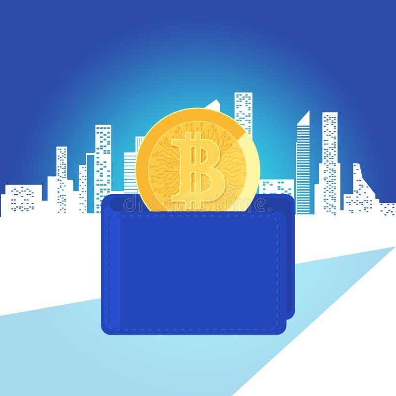Begrepp av den digitala cryptocurrencyen för faktiska pengar Guld- bitcoin i blå plånbok Ökande huvudstad och vinster Rikedom och royaltyfri illustrationer