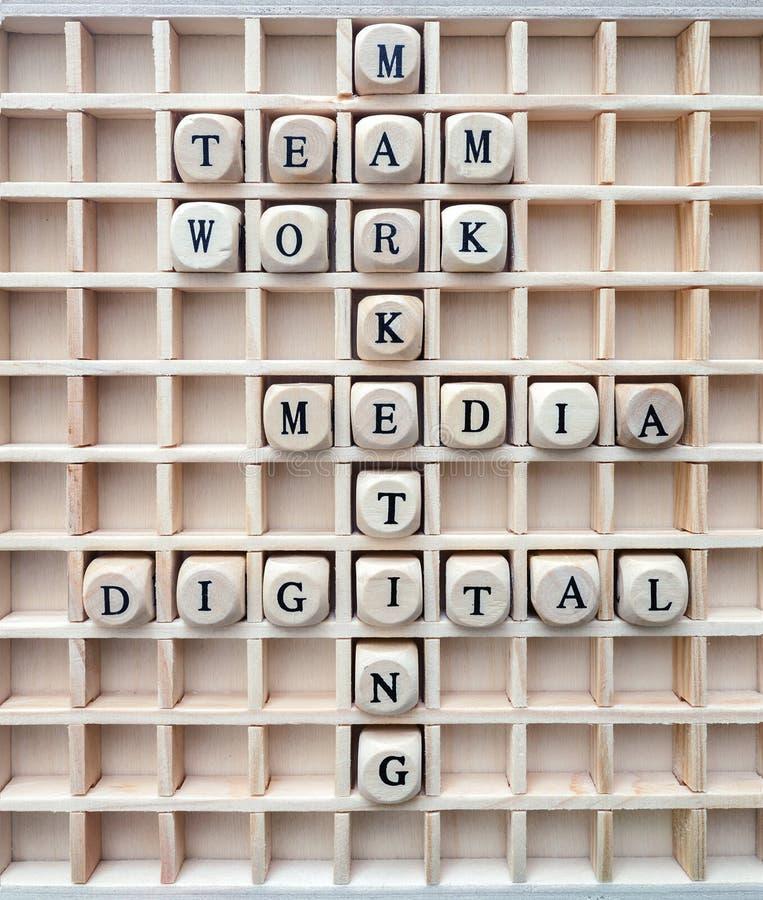 Begrepp av den digitala marknadsföringen för kommunikationen bildade med den wood gröngölingen arkivfoto