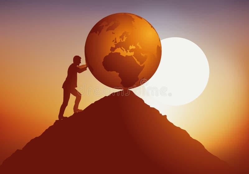 Begrepp av den ekologiska katastrofen med en ansvarslös man som förstör jorden royaltyfri illustrationer