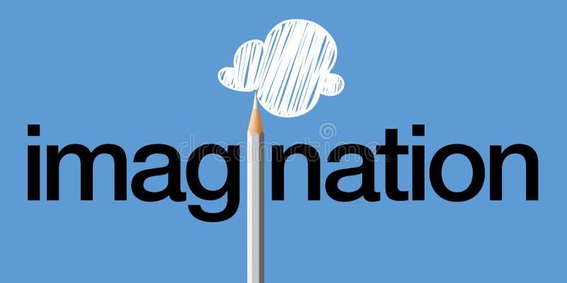 Begrepp av den fantasirika meningen med för symbol en kulör blyertspennateckning ett moln royaltyfri illustrationer