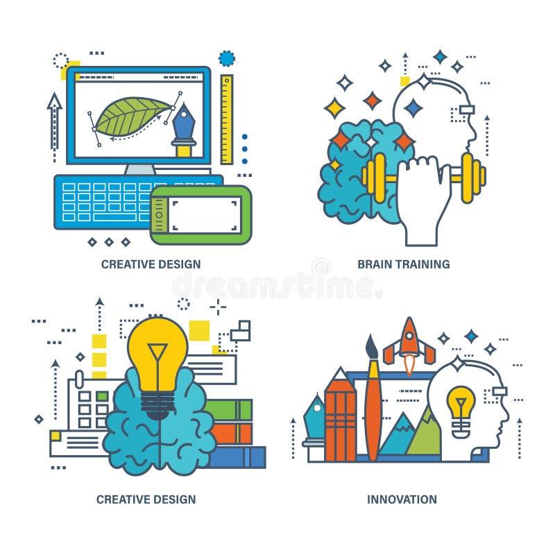 Begrepp av den idérika designen, hjärnutbildning, innovation royaltyfri illustrationer