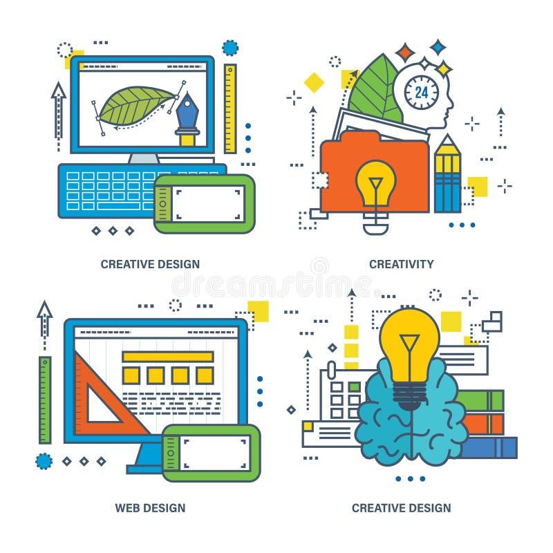 Begrepp av den idérika designen, hjärnutbildning, innovation, rengöringsduk royaltyfri illustrationer