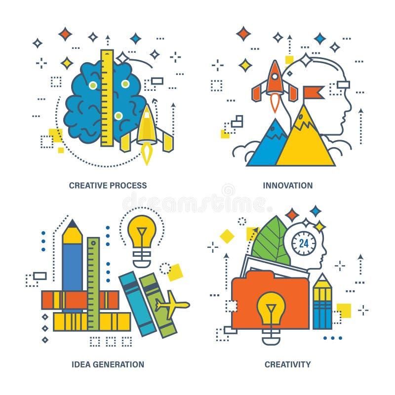 Begrepp av den idérika processen, idéutveckling, innovation, kreativitet stock illustrationer