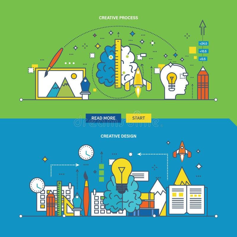Begrepp av den idérika processen, innovation och designen stock illustrationer