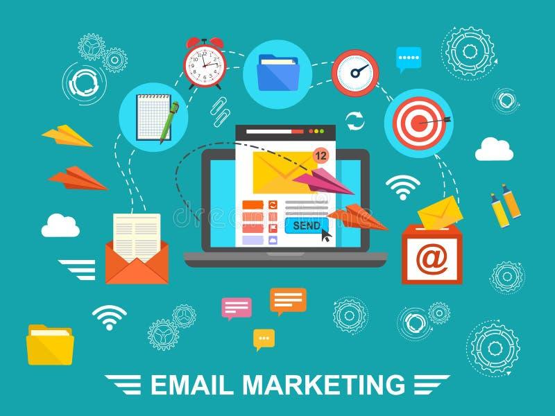 Begrepp av den körande emailaktionen, byggnadsåhörare, email som annonserar, direkt digital marknadsföring stock illustrationer