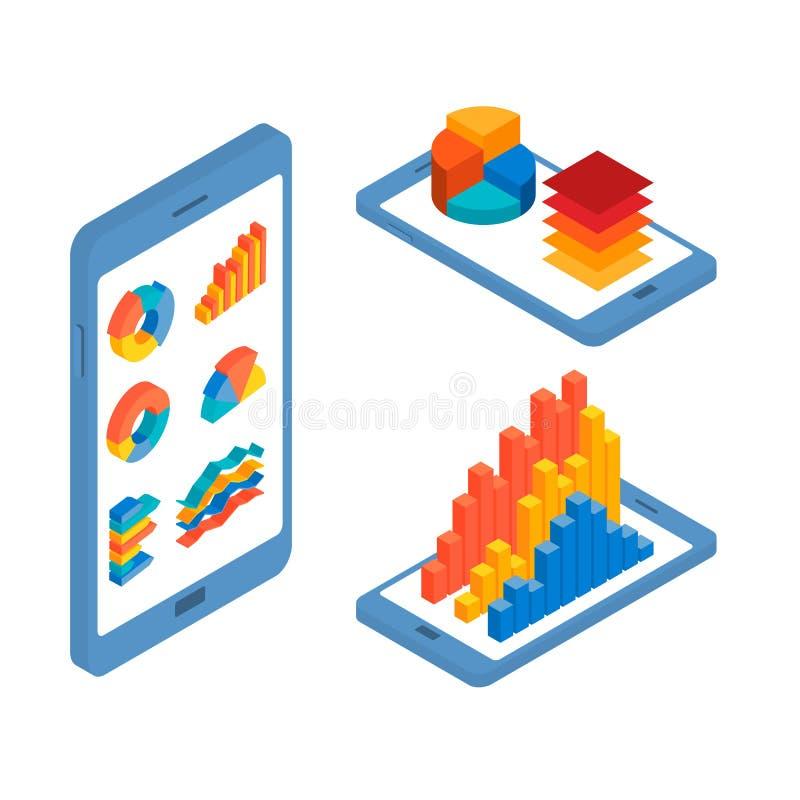 Begrepp av den mobila infographic designen vektor illustrationer