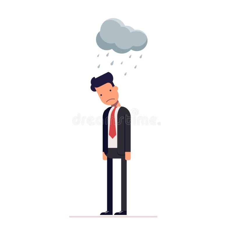 Begrepp av den pessimistaffärsmannen eller chefen för krisen Plant tecken på vit bakgrund vektor royaltyfri illustrationer
