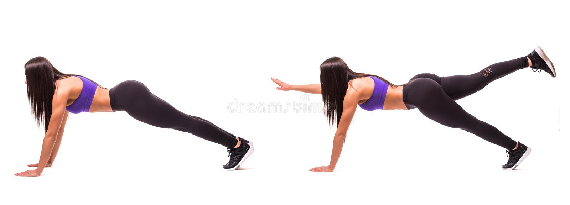 Begrepp av den sunda livsstilen i uppsättning Sportskönhetkvinnan gör plankakonditionövningar på vit bakgrund Kvinnan visar börja royaltyfri fotografi