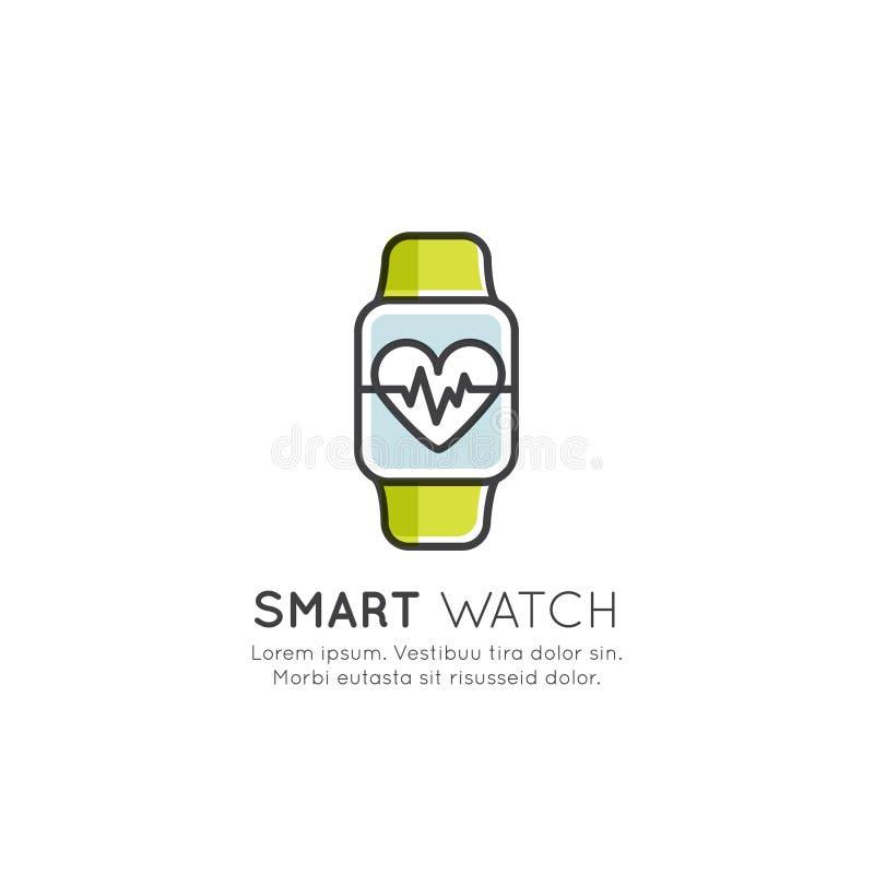 Begrepp av den Wearable bogseraren, momentet och kalorier räknare, hjärtahastighet, teknologi av framtid vektor illustrationer