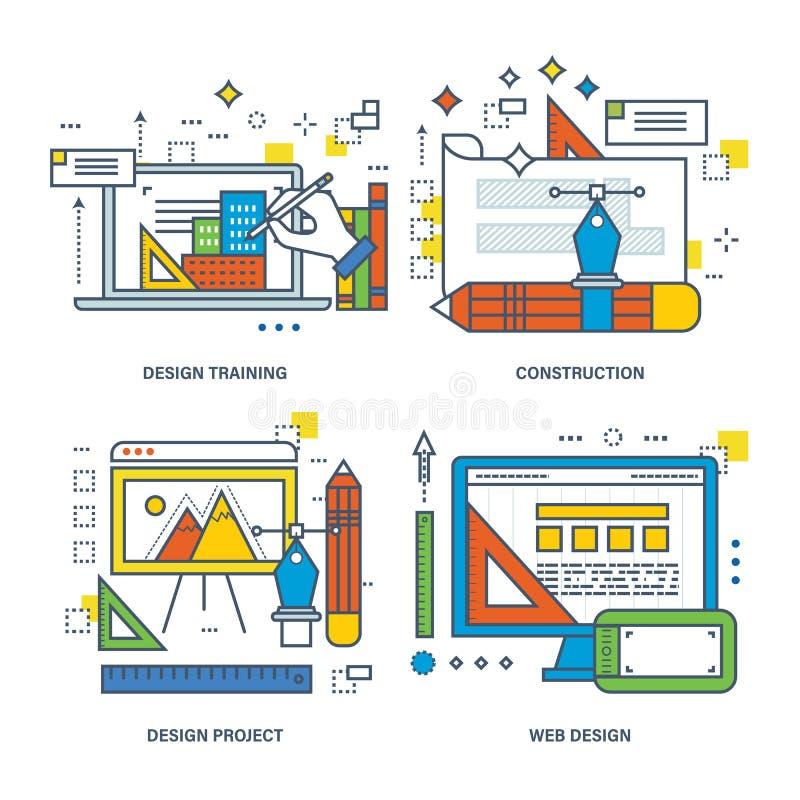 Begrepp av designutbildning, konstruktion, projekt, rengöringsduk royaltyfri illustrationer