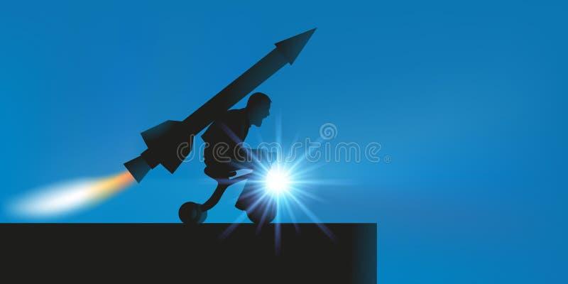 Begrepp av det absurt med en man som tror för att vara i stånd till att ta av tack vare en raket som fixas på hans baksida stock illustrationer