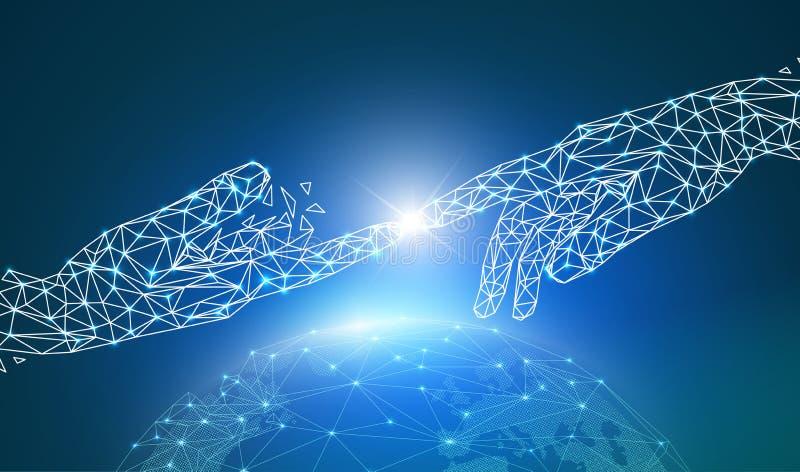 Begrepp av det globala nätverket eller kommunikationsteknologi, digital hand som tillsammans pekar och trycker på på wireframejor vektor illustrationer