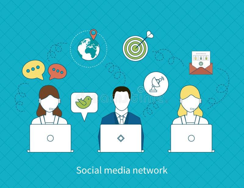 Begrepp av det sociala massmedianätverket royaltyfri illustrationer
