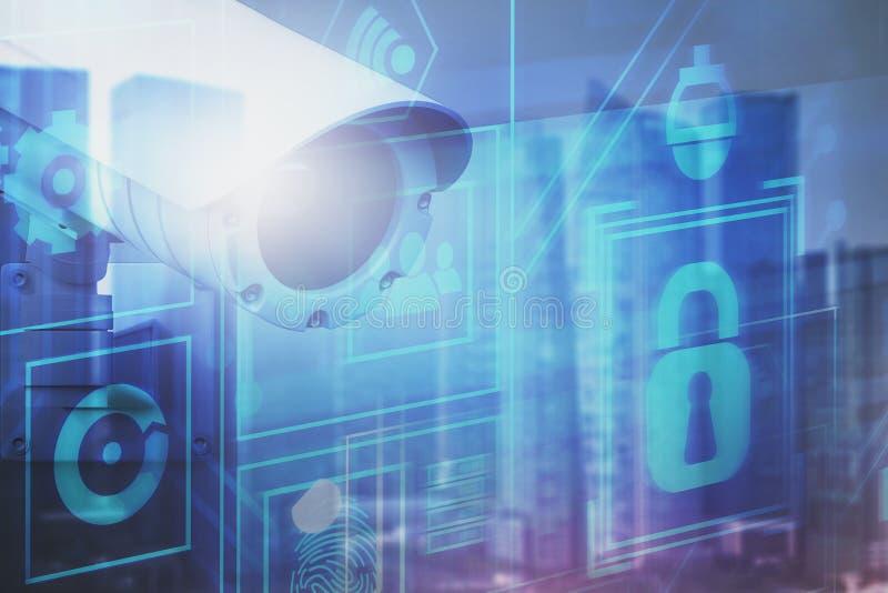 Begrepp av digital övervakning och bevakning stock illustrationer