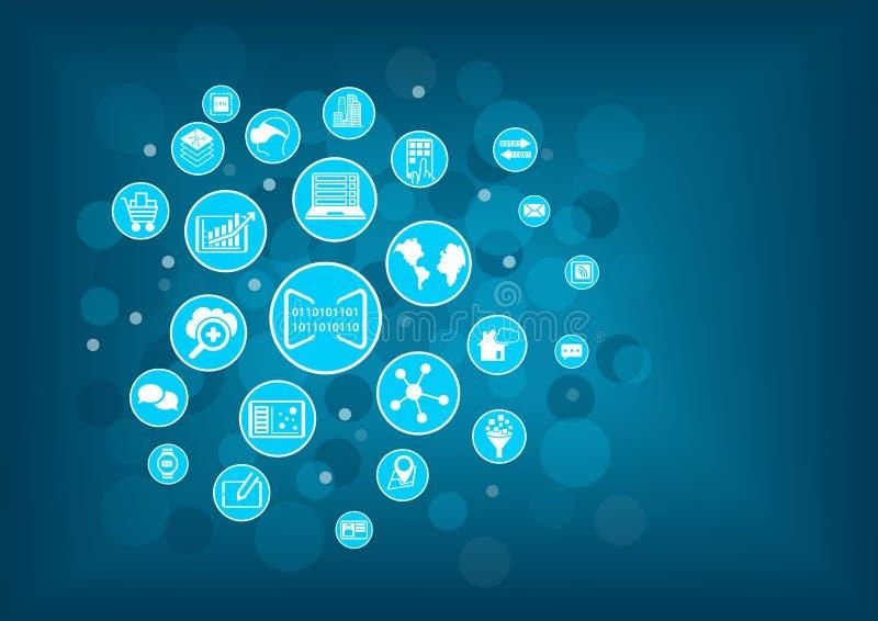Begrepp av digitization av affären Vektorillustrationen av olika symboler gällde den digitala affären som mobila enheter stock illustrationer