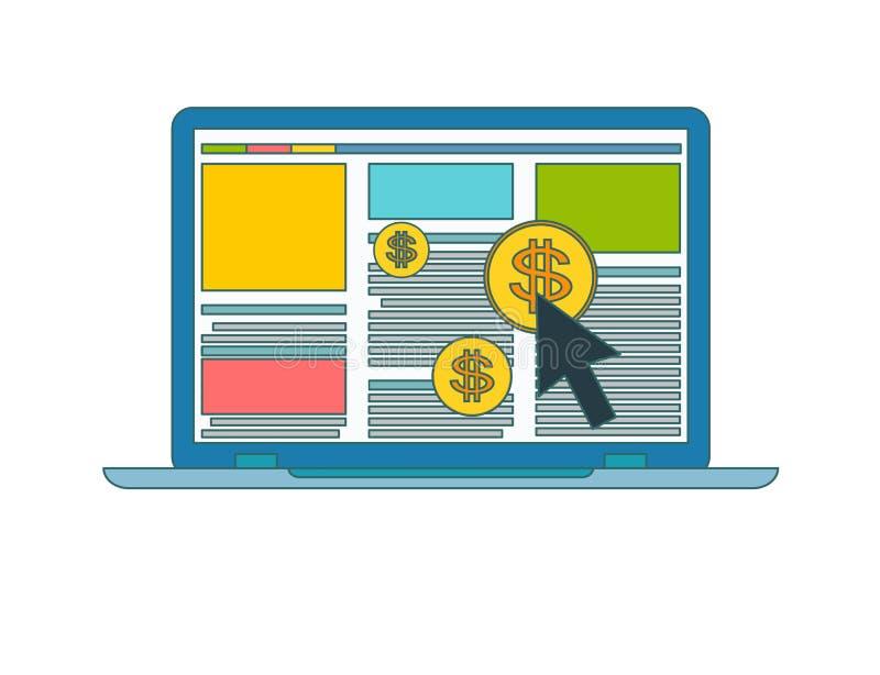 Begrepp av direktanslutet eller internetadvertizing Online-annonssymbol vektor illustrationer