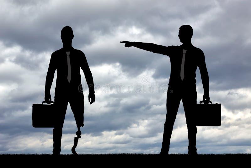 Begrepp av diskriminering och ojämlikhet för folk med handikapp i anställning fotografering för bildbyråer