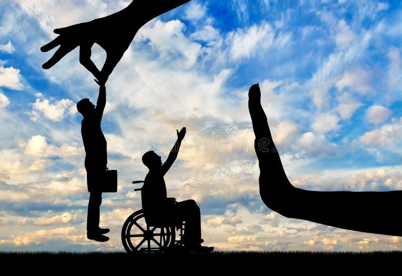 Begrepp av diskriminering och ojämlikhet i anställningen av folk med handikapp arkivbilder