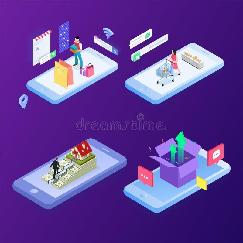 Begrepp av e-kommers f?rs?ljningar, online-shopping, digital marknadsf?ring Isometrisk vektorillustration royaltyfri illustrationer
