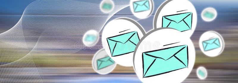 Begrepp av e-posten stock illustrationer