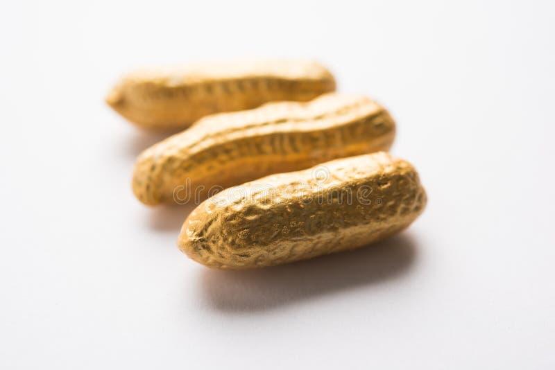 Begrepp av egenart, lycka, värde, exclusivity och bättre val Guld- jordnöt- eller jordningsmutter som ut står bland normal peanu arkivfoton
