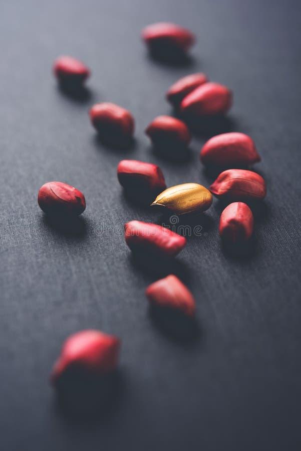 Begrepp av egenart, lycka, värde, exclusivity och bättre val Guld- jordnöt- eller jordningsmutter som ut står bland normal peanu royaltyfria bilder