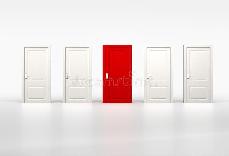 Begrepp av egenart och tillfället Röd dörr i rad av whien arkivfoto