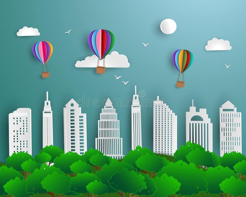 Begrepp av ekologi och miljön med stads- landskap för stadsgräsplannatur royaltyfri illustrationer