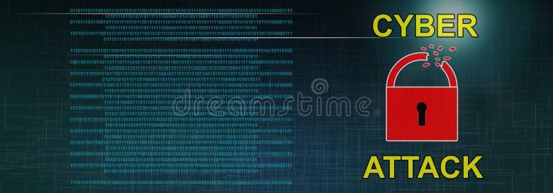 Begrepp av en cyberattack stock illustrationer
