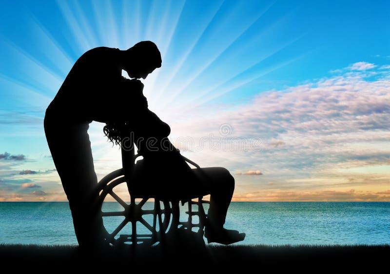 Begrepp av en person med ett handikapp i familjen royaltyfri bild