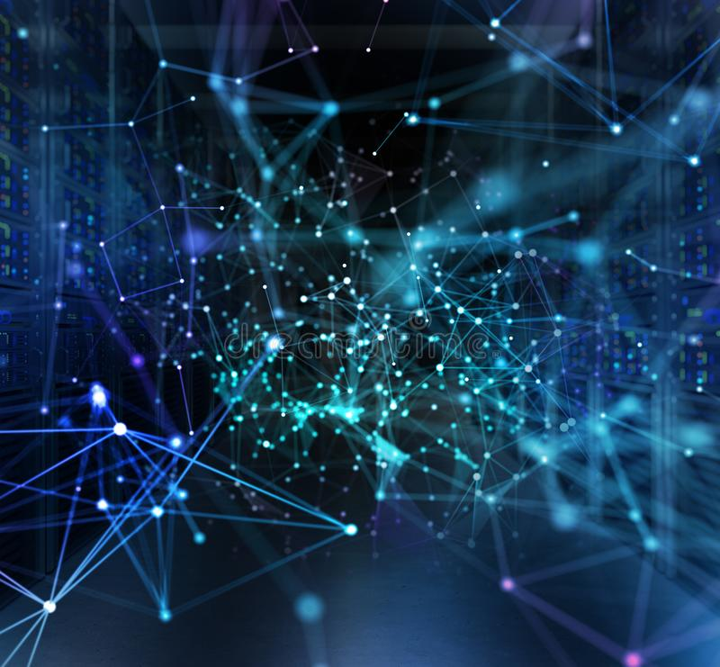 Begrepp av ett datorhallrum med serveror och nätverkseffekter arkivfoto