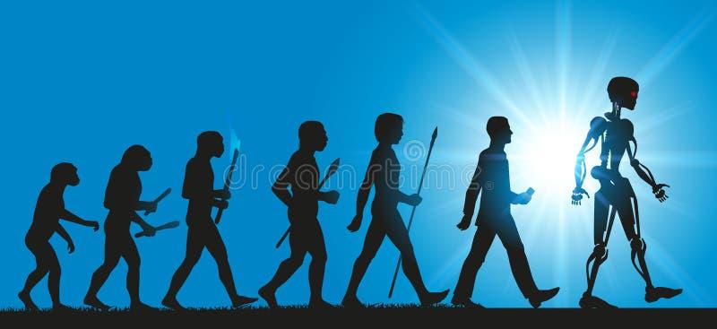 Begrepp av evolutionen av mänsklighet in mot robotar och konstgjord intelligens stock illustrationer