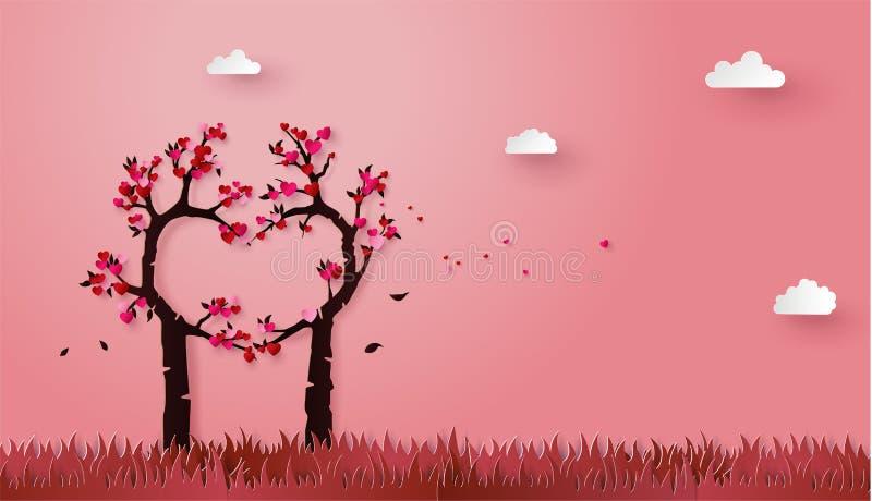 Begrepp av förälskelse- och valentindagen med förälskelseträdet stock illustrationer