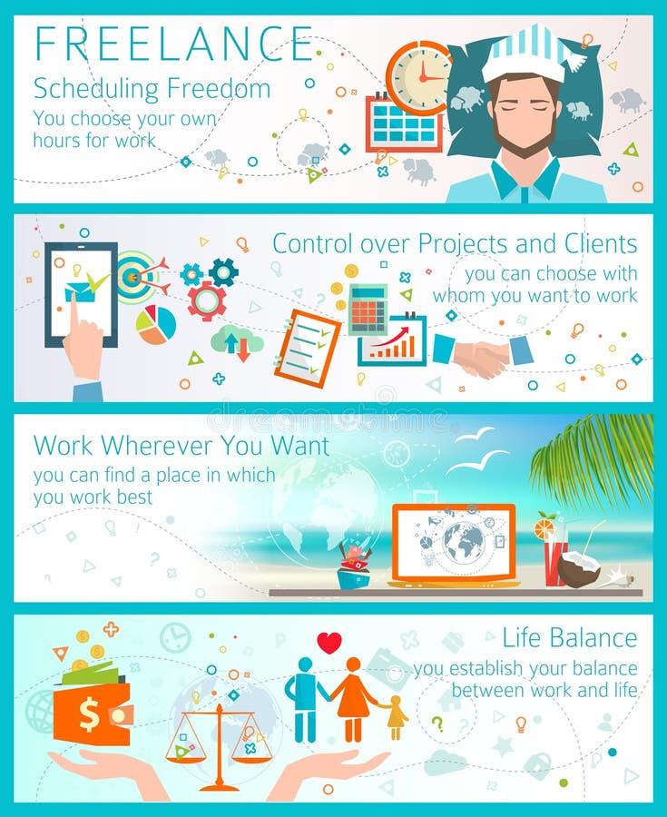 Begrepp av fördelar av att bli en freelancer vektor illustrationer