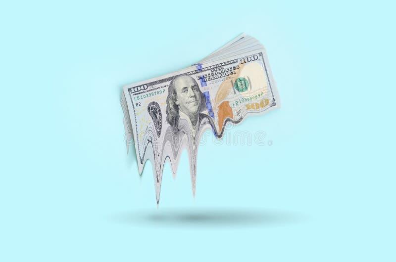 Begrepp av förlorande pengar Nedgång i USA-valutavärde arkivfoton