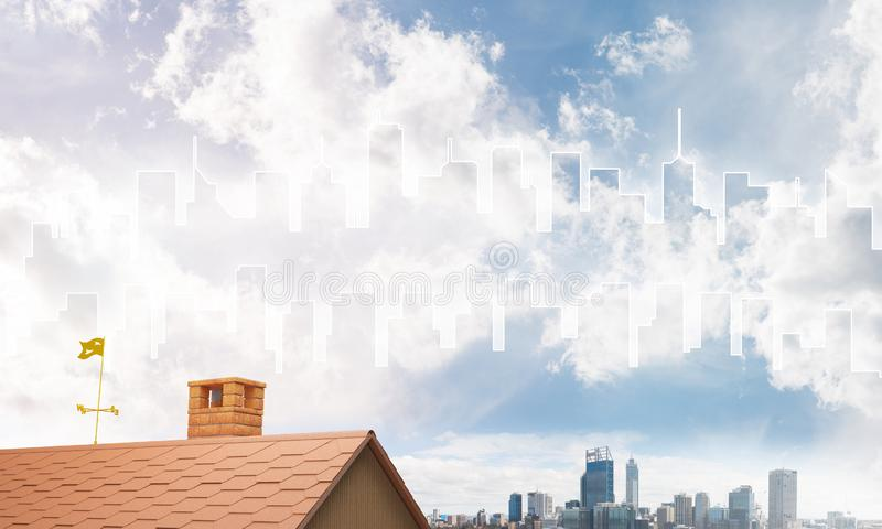 Begrepp av fastigheten och konstruktion med den utdragna konturn på storstadbakgrund royaltyfri illustrationer