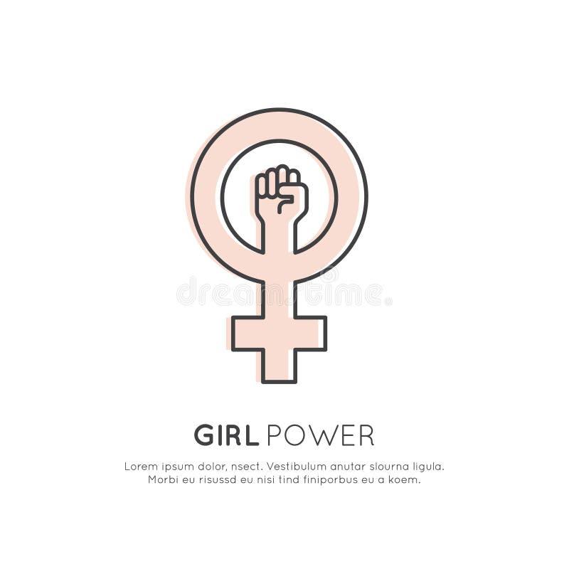 Begrepp av feminismrörelse, LGBT-samhälle, flickamakt, kvinnlig framtida protest vektor illustrationer