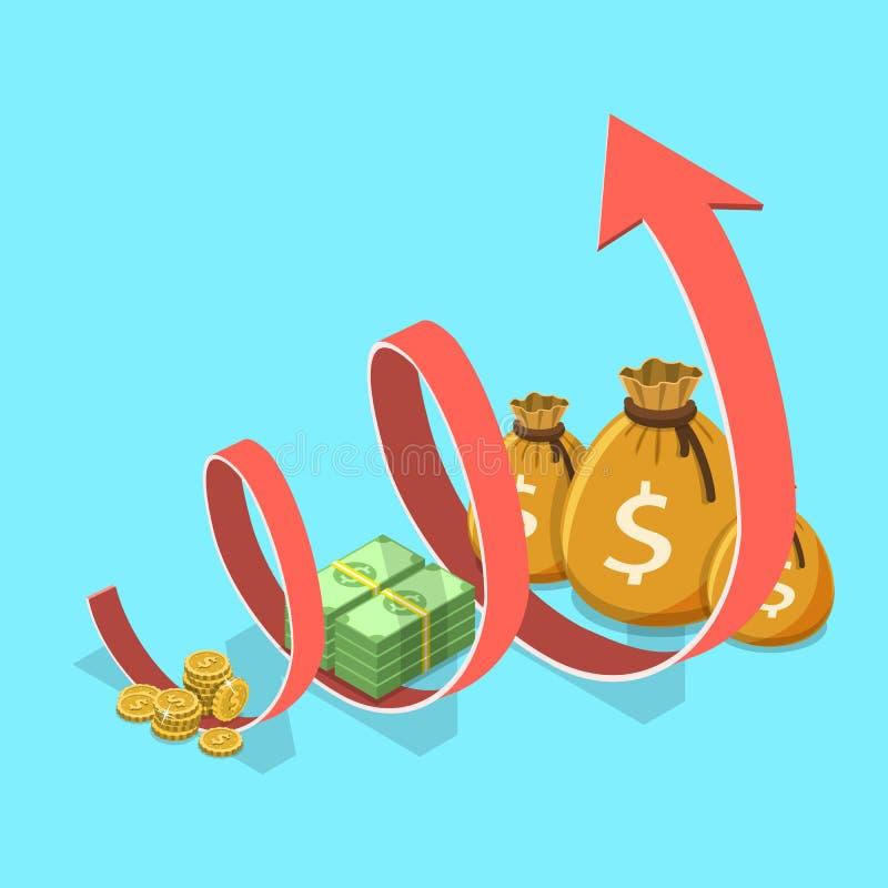 Begrepp av finansiell tillväxt, affärsproduktivitet, ROI, finansiell kapacitet stock illustrationer