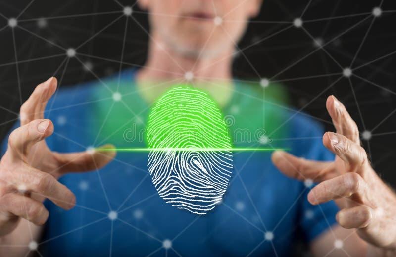 Begrepp av fingeravtrycksäkerhetssystemet arkivfoto