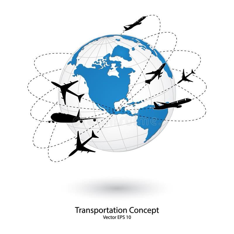 Begrepp av flygplanet, lufthantverk som runt om världen sänder för trans.begrepp royaltyfri illustrationer