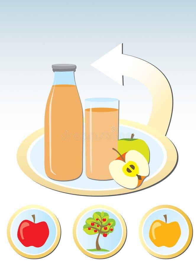 Begrepp av framställning av äppelmust stock illustrationer