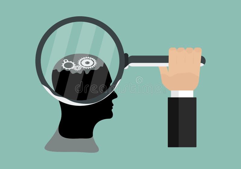 Begrepp av fungera av människokroppen och hjärnkugghjulen av kuggar med vektordesignillustrationen stock illustrationer