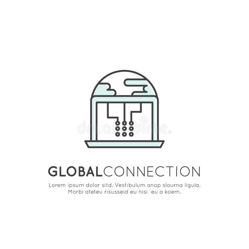 Begrepp av global anslutning, nätverk, världsomspännande rengöringsduk, moln som är värd, trådlös anslutning vektor illustrationer