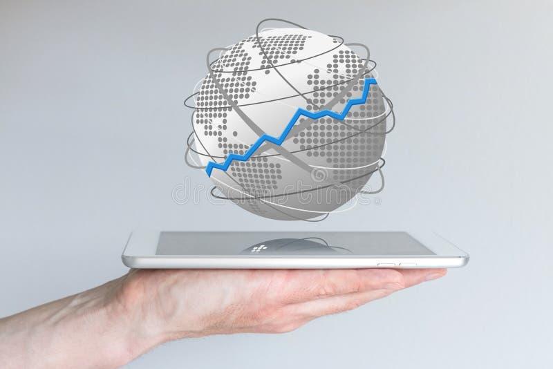 Begrepp av global försäljningsförhöjning av mobila enheter som den smarta telefonen, smarta klockor, minnestavlor och phablets royaltyfria bilder