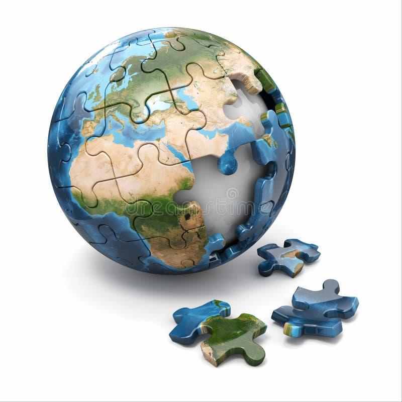 Begrepp av globaliseringen. Jordpussel. 3d royaltyfri illustrationer