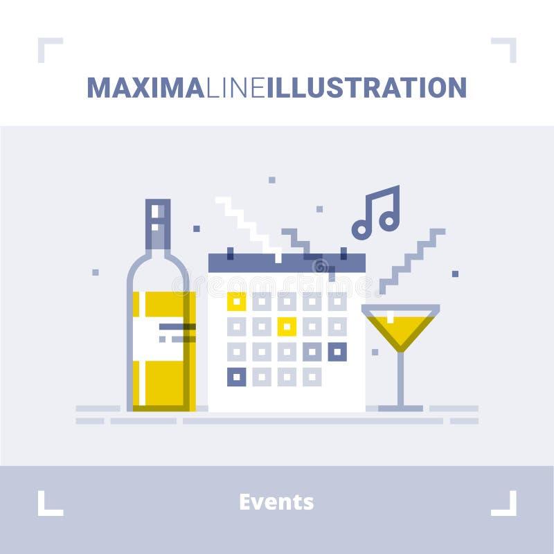 Begrepp av händelseledning och att sköta om den tjänste- byrån som marknadsför byrån, organisation av beröm och partiet vektor vektor illustrationer