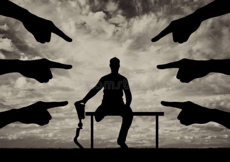 Begrepp av handikappdiskriminering, sociala problem arkivfoto