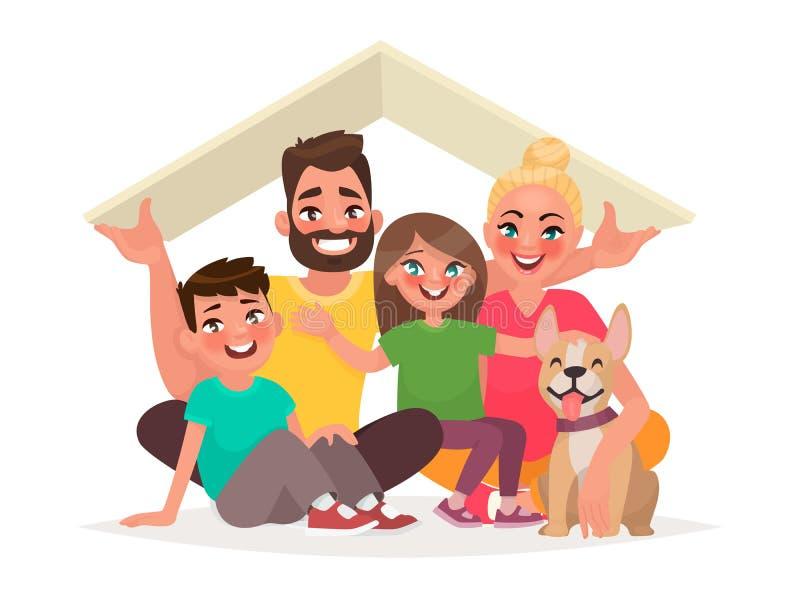 Begrepp av hemmet av en ung lycklig familj Farsa moder, son, D vektor illustrationer